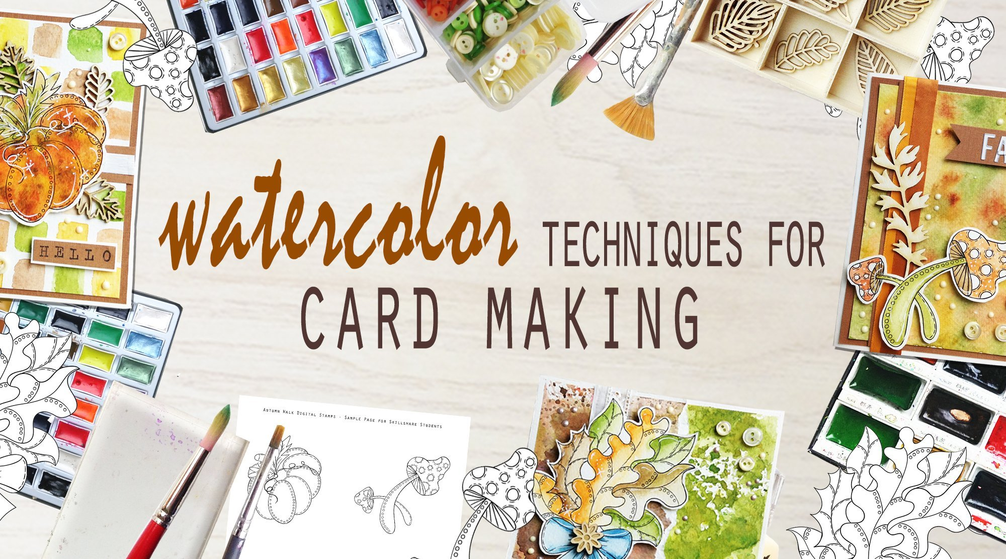 create autumn greeting cards watercolor techniques for