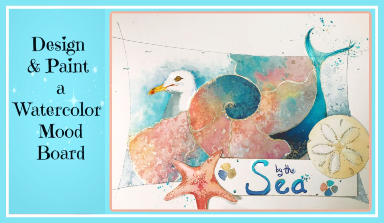 Pink Sand /& White Seashells Watercolor Kit