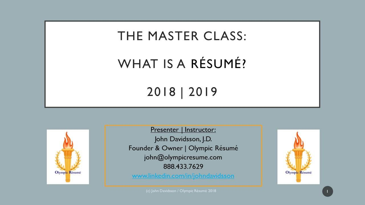 career development 2018  the master class    what makes a