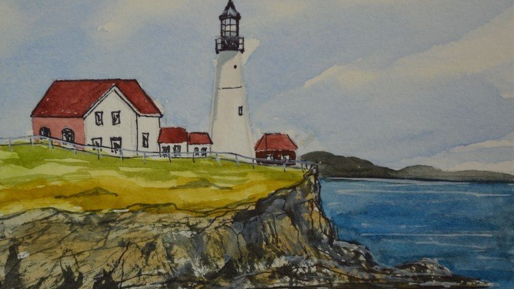 Beginner Watercolor Painting Course Easy Lighthouse