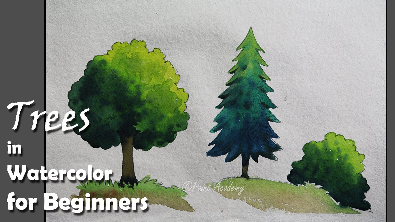 How to Paint Trees in Watercolor for Beginners | Paint Academy ...